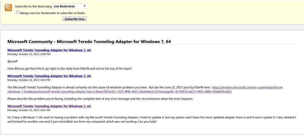 Microsoft Teredo Tunneling Adapter for Windows 7, 64