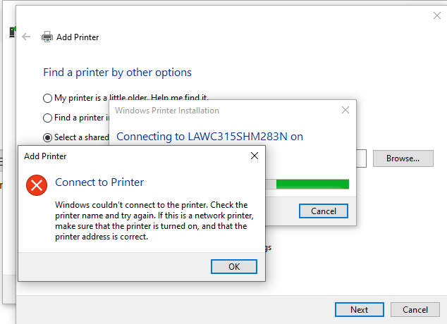 Can't Add Network Printer from Server - Error 0X00000709