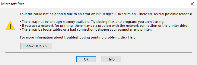 Error on printing from Excel and Word in Windows 10