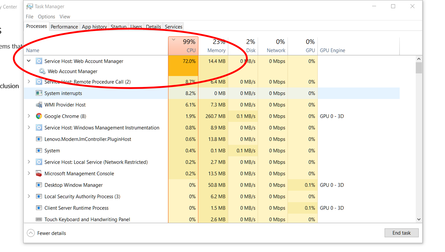 Service Host: Web Account Manager using 70+% of CPU - Microsoft