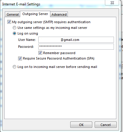 gmail setting for outlook 2013