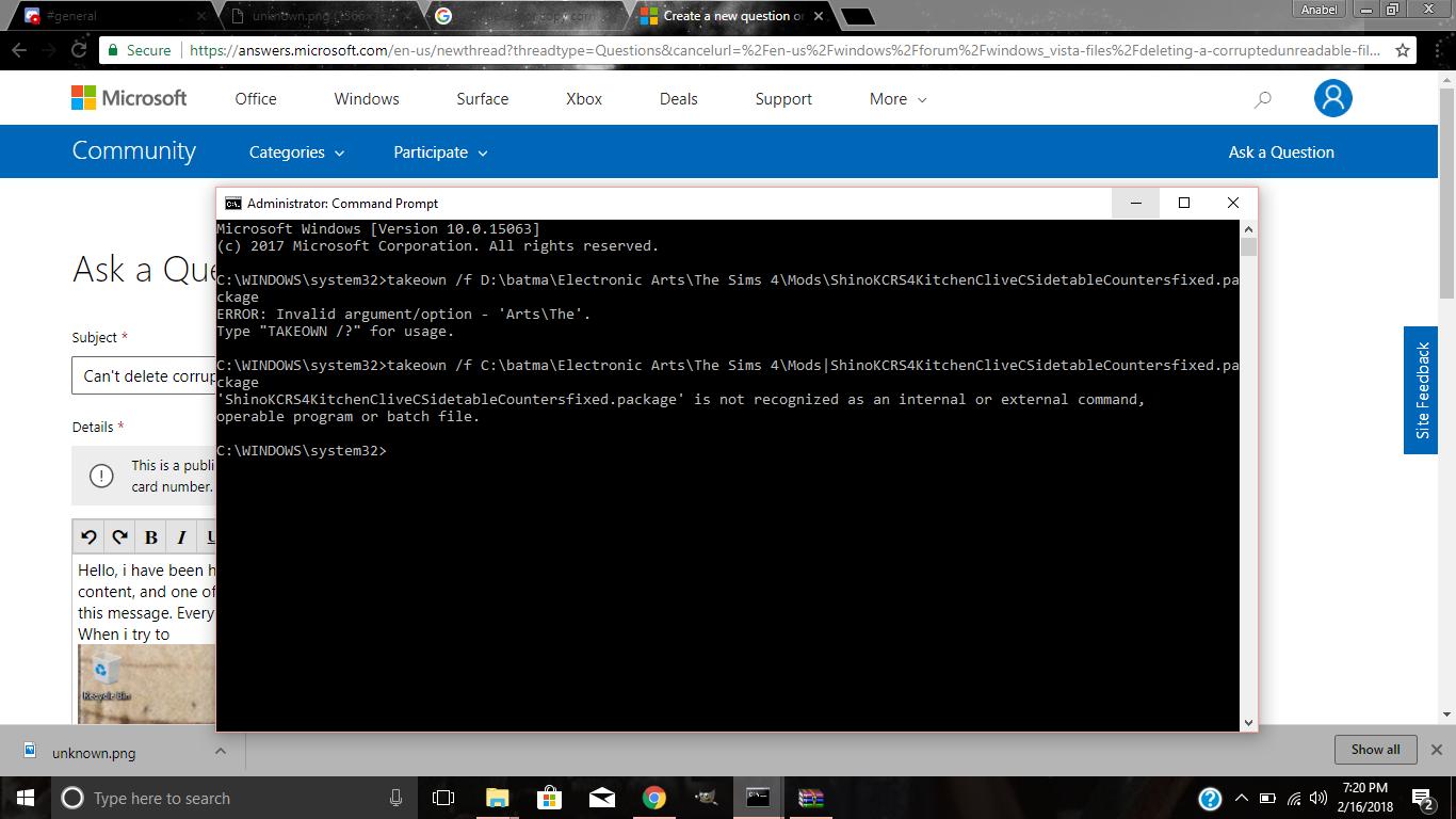 Can't delete corrupt file - Microsoft Community