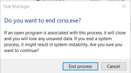 csrss.exe service