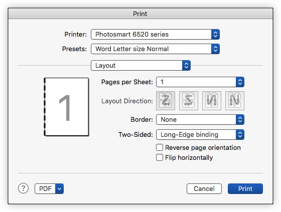 how to print 2 pages per sheet mac word 2011