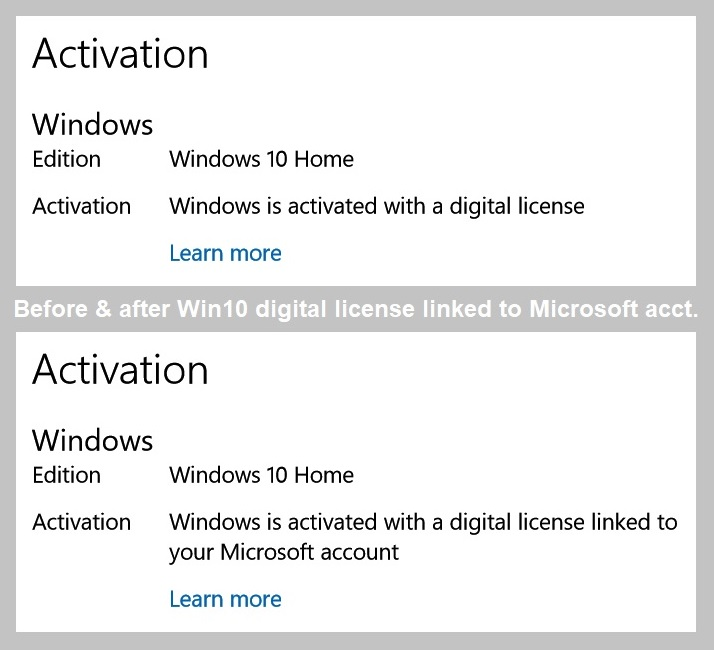 Linking Windows 10 digital license to Microsoft account: Is the