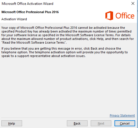 microsoft office activation wizard 2016 product key