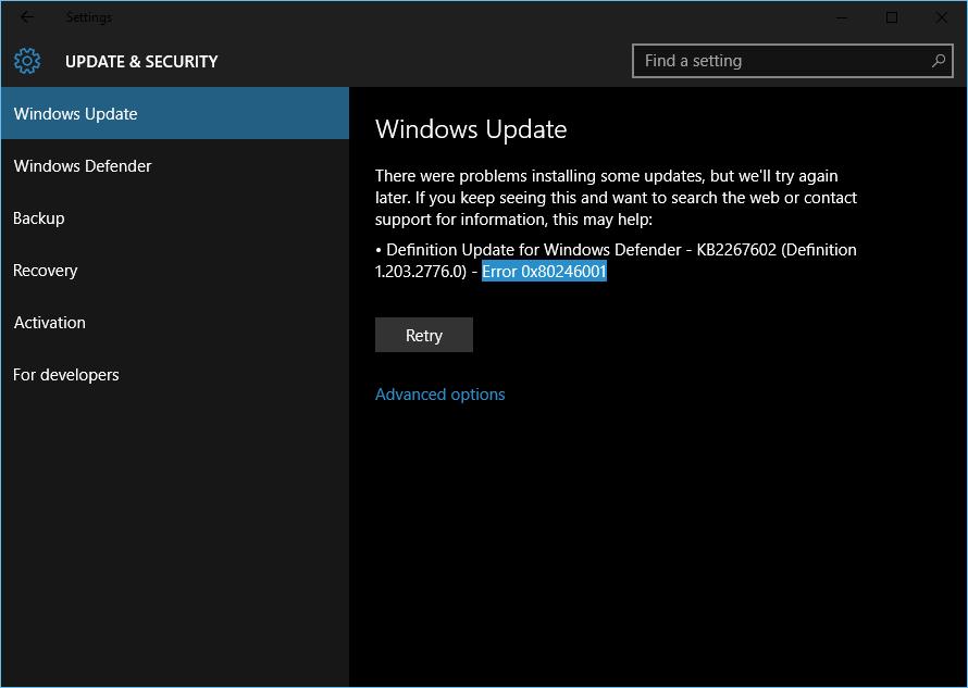 Windows Update error 0x80246001