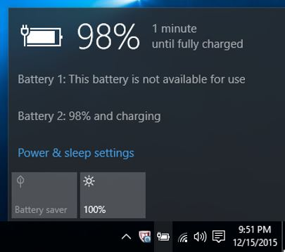 Windows 10 Pro Battery 1 Status shows as Battery 2 Status in