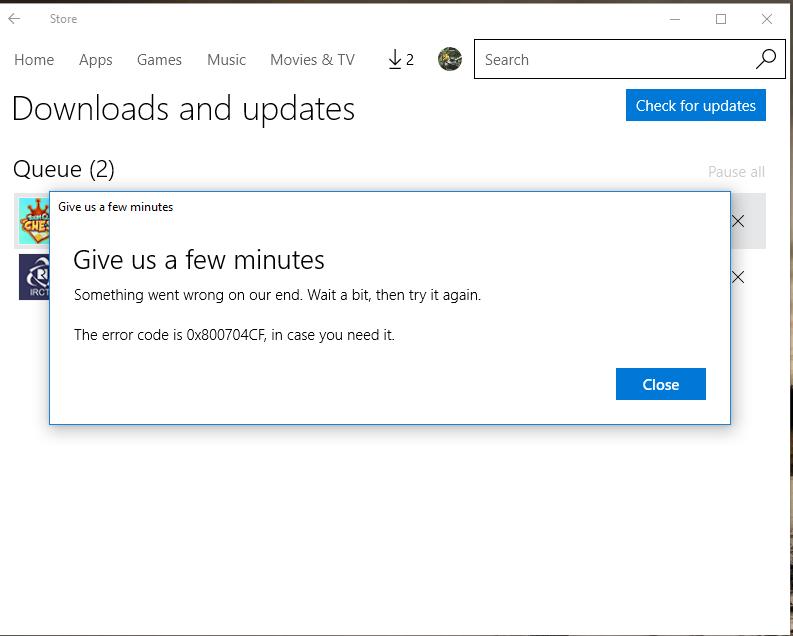 windows store not downloading apps error 0x800704cf microsoft