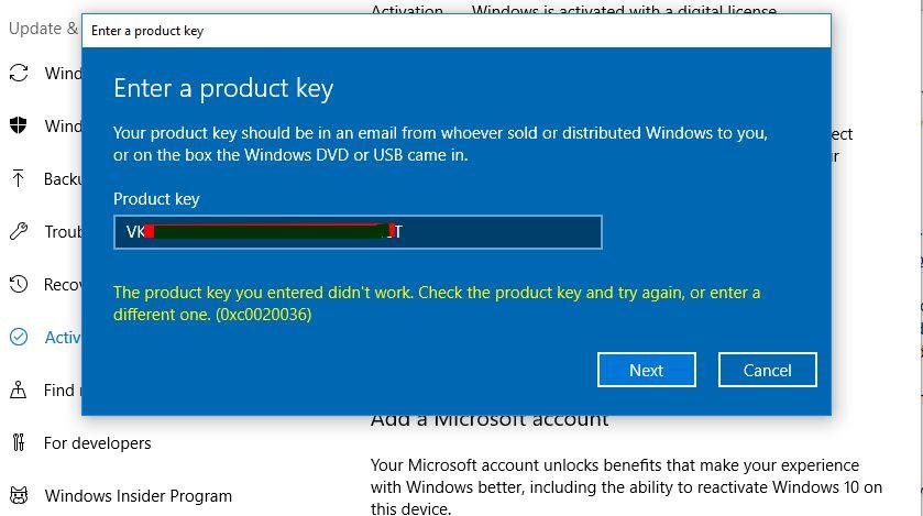 register windows 7 key for windows 10