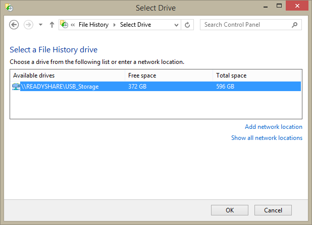 File History - inability to recognise network drive