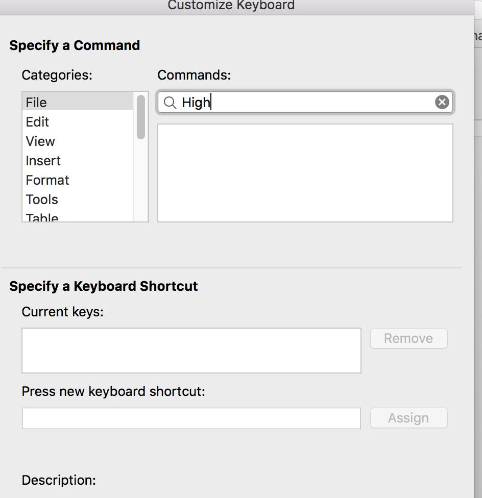 Microsoft word highlight shortcut