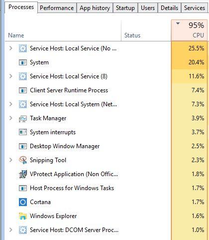100% cpu usage windows 10 - Microsoft Community