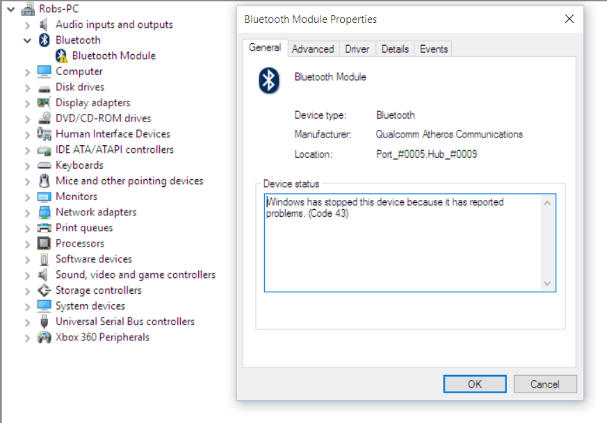Bluetooth keeps getting disabled from the device manager
