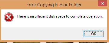 I have enough space in my external drive but copying files to it