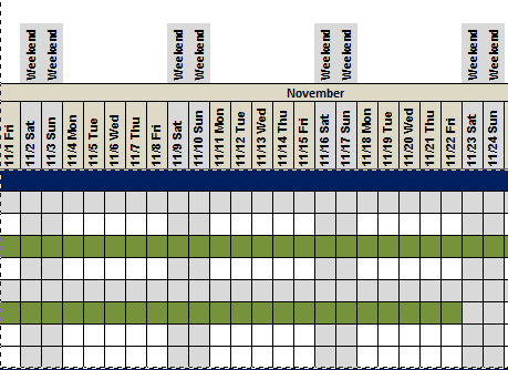 Conditional formatting to identify weekends in gantt chart i would like to use conditional formatting to highlight the weekends only the entire column would anyone be able to assist me with this question ccuart Gallery