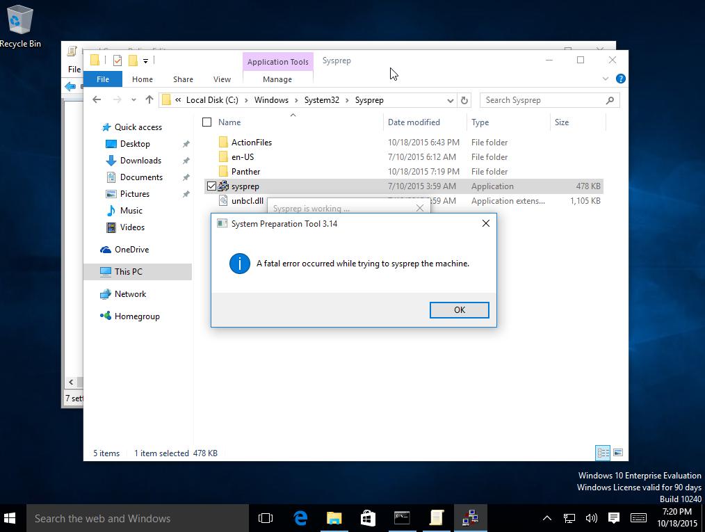 Windows 10 sysprep error: System Preparation Tool 3 14 A