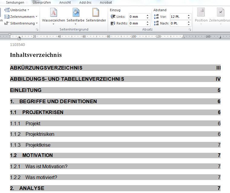 Word Inhaltsverzeichnis Seitenzahlen rechts außerhalb Seitenrand ...