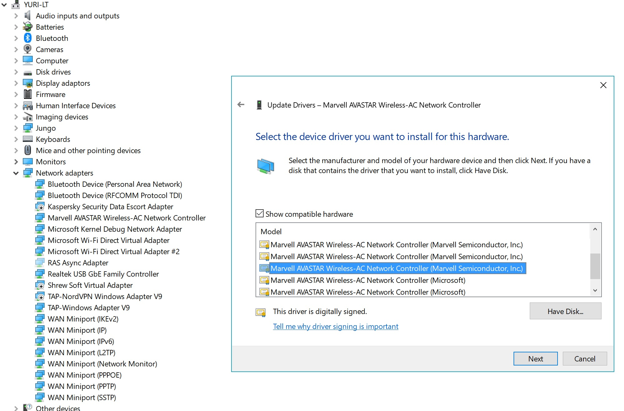 Marvell AVASTAR Bluetooth broken functionality - Microsoft