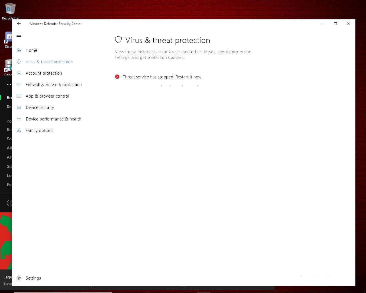 Windows Defender - Threat service has stopped - Microsoft Community