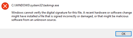 Windows cannot verify the digital signature for this file