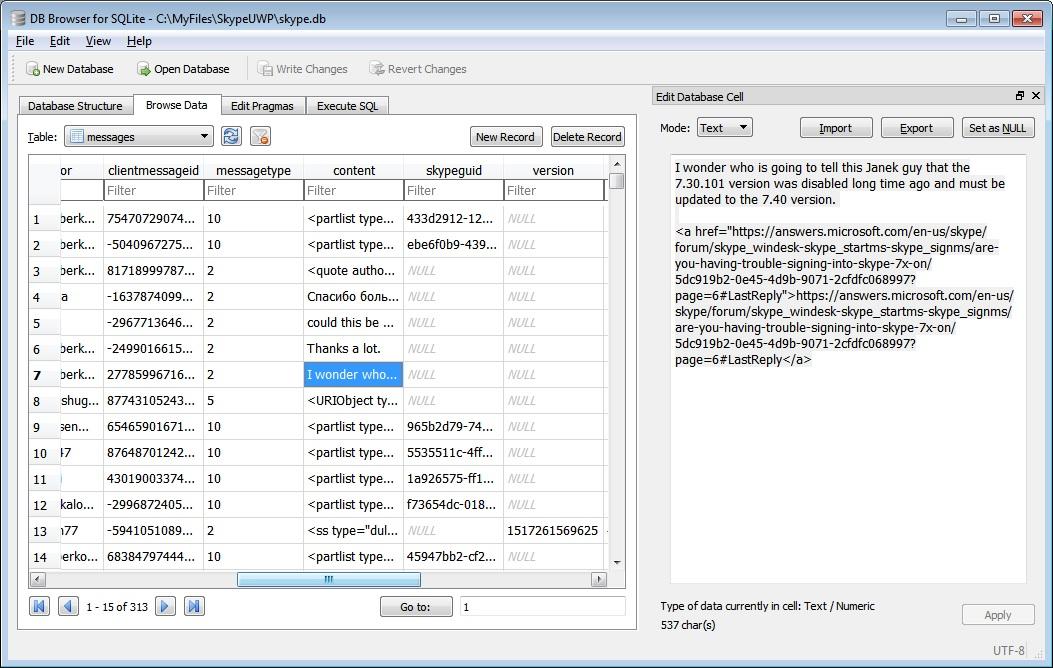 SQLite main db file - Microsoft Community