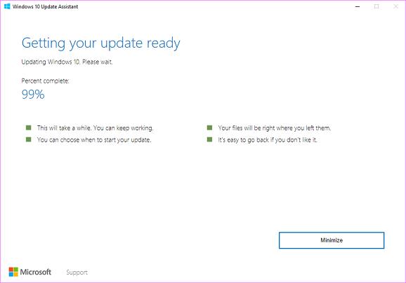 microsoft 10 update stuck at 99