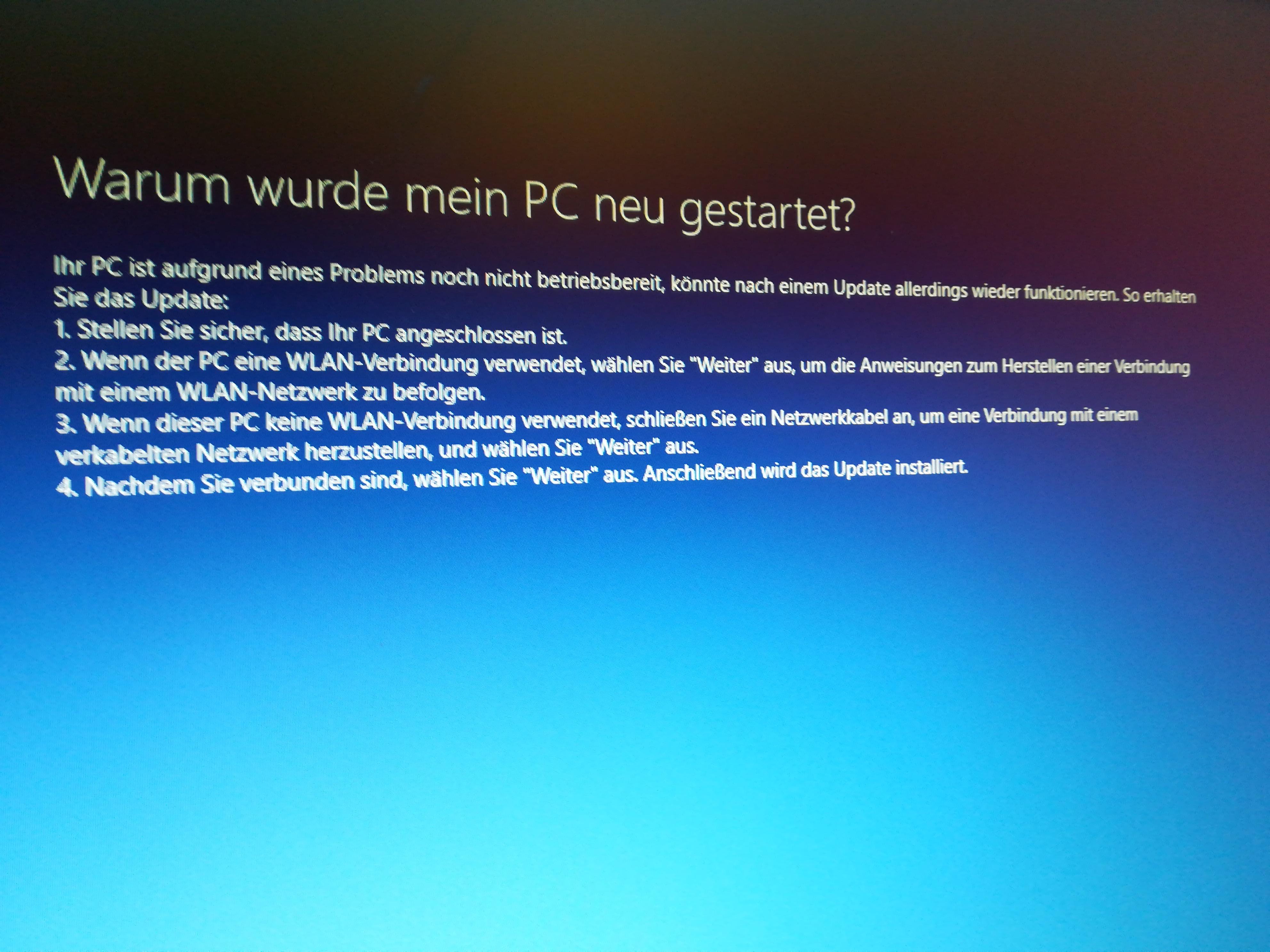 PC Konfiguration geht nach zurücksetzen nicht weiter