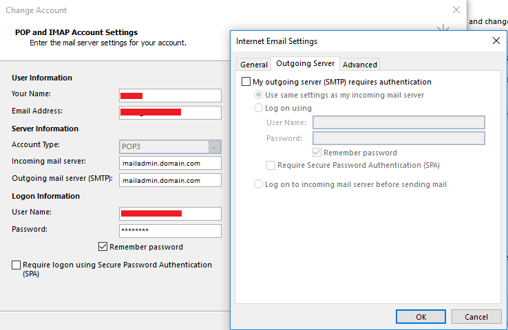 Outlook cannot connect to SMTP server, POP3 account that has
