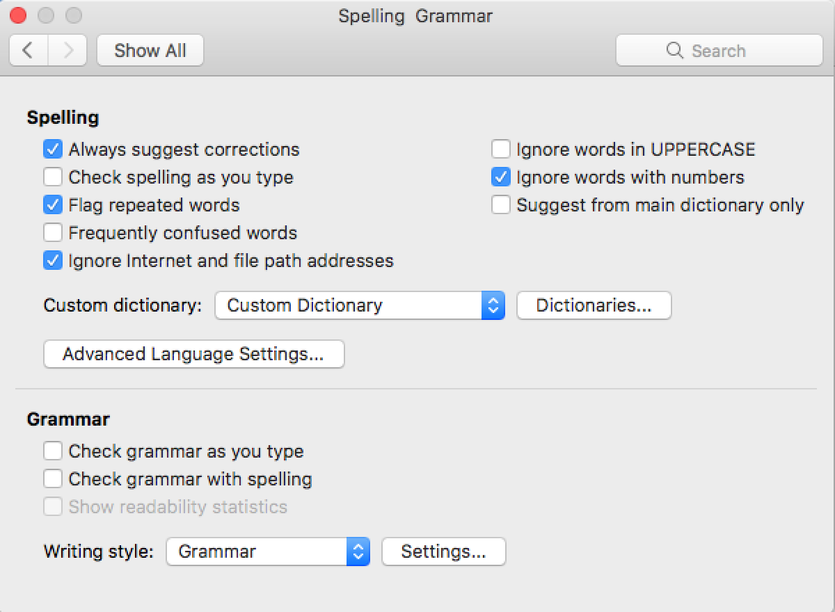 microsoft word spell check not working mac