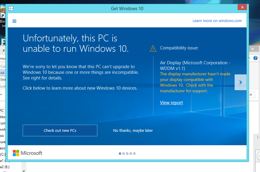 Air Display prohibiting me from getting Windows 10 - Microsoft Community
