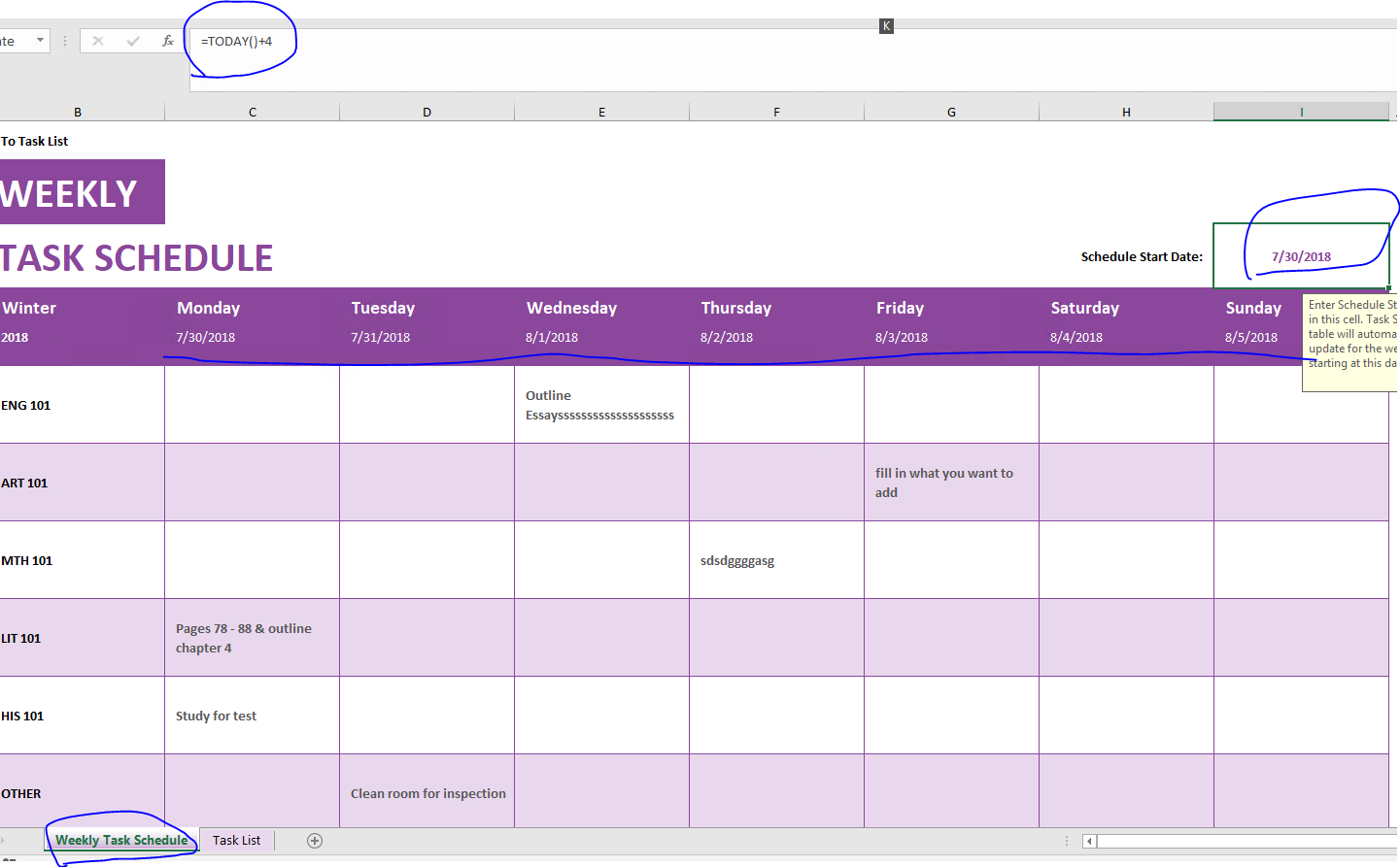 Excel weekly task scheduler tutorial - Microsoft Community
