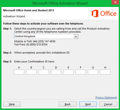 Geographical regions in activating office 2013 microsoft - Activation office 2013 sans telephone ...