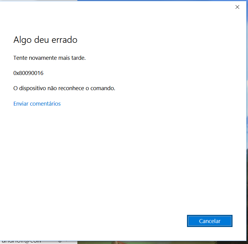 Windows 10 - Microsoft Email Erro 0X80090016 - Microsoft Community
