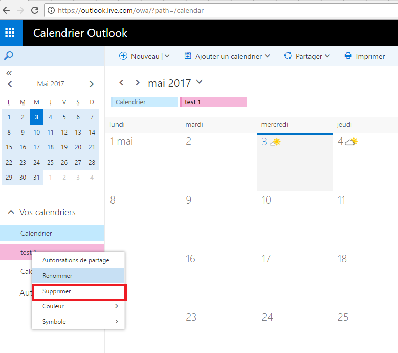 Supprimer Calendrier Outlook.Comment Supprimer Calendrier Principal Microsoft Community