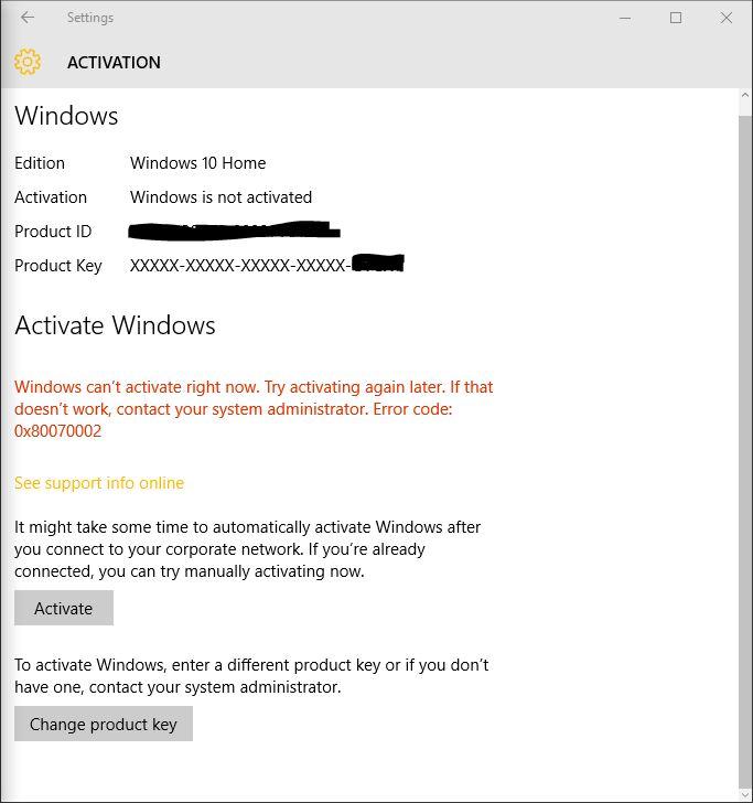 Windows 10 Activation Error code 0x80070002 - Microsoft Community