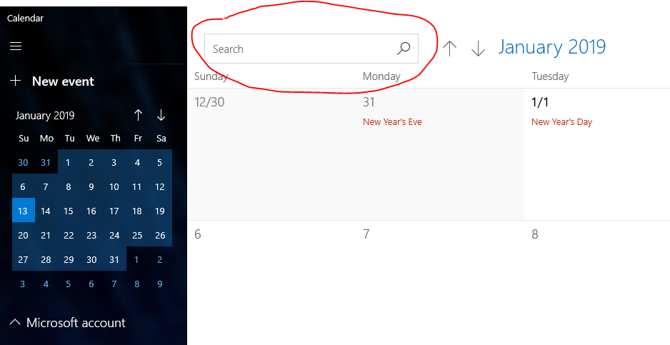 search bar is missing in calendar app  windows 10