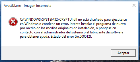Avastui exe error | Avast! wont launch at startup  'The application