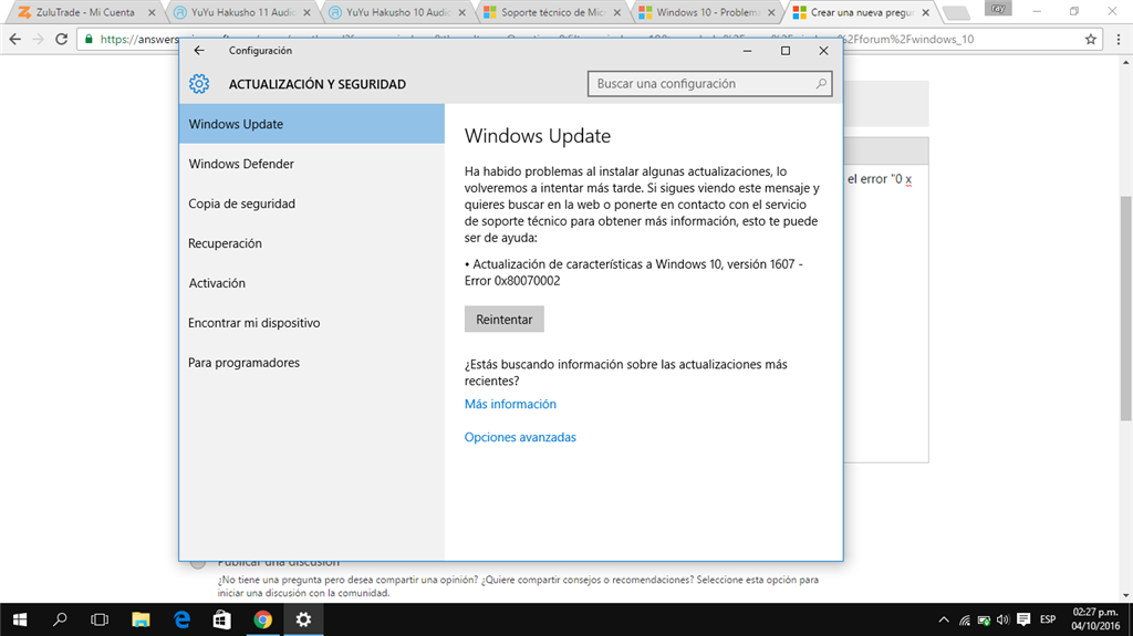 Windows 10 - Error 0x80070002 versión 1607 - Microsoft Community
