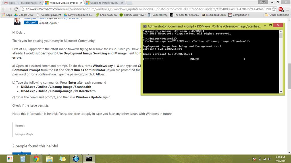 Windows Update error code 800F0922 (for update KB2920189