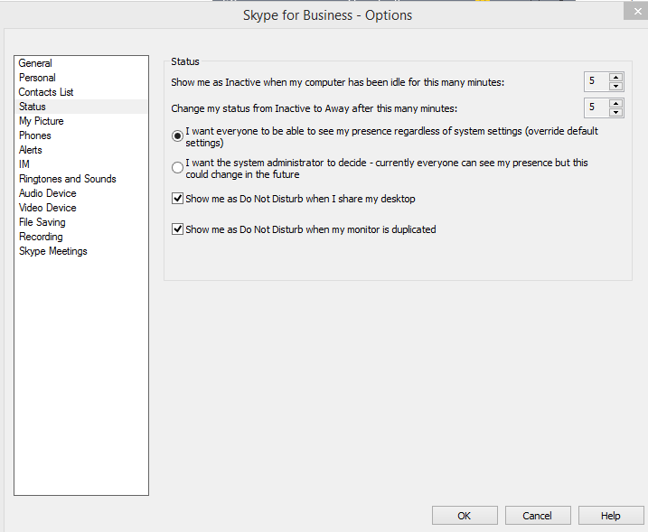 Script to change the Status in Skype for Business 2016 - Microsoft