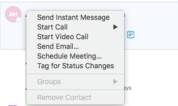 Skype for Business for Mac remove contact grayed out
