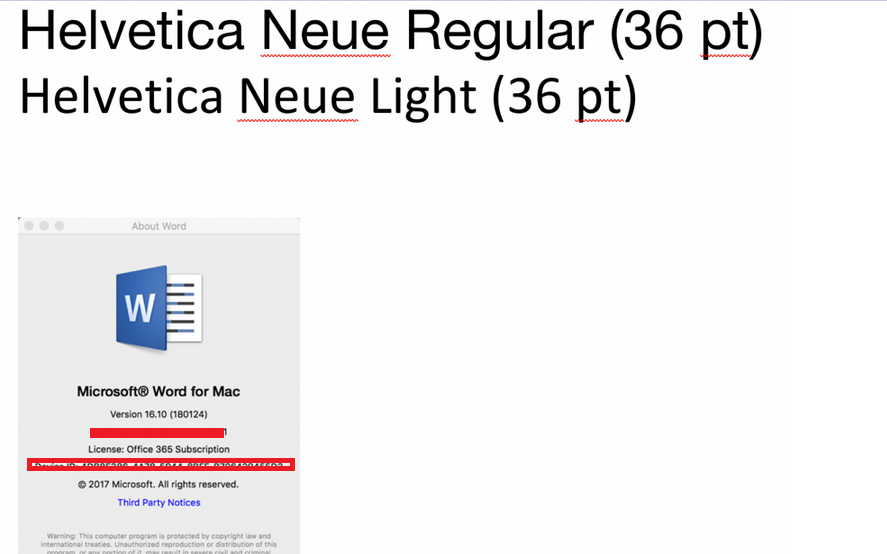 Helvetica neue light' font stopped displaying correctly