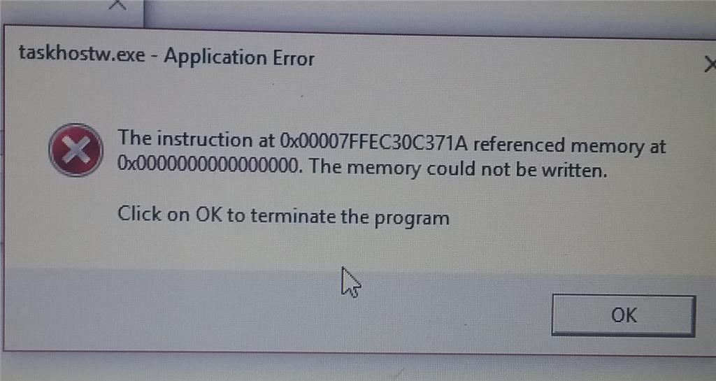taskhostw.exe - Application Error - Microsoft Community