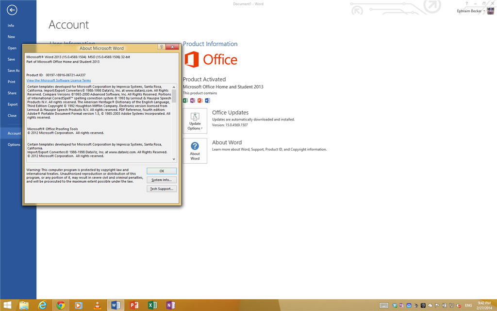 not sure if office 2013 sp1 is really installed - Microsoft
