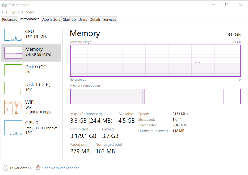 Windows 10 1903 causing Memory leaks and task manager showing wrong