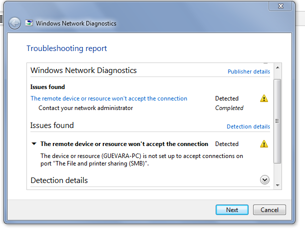 The device or resource (PC name) is not set up to accept - Microsoft