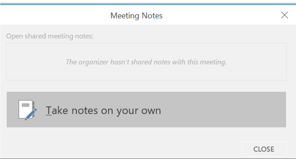 Outlook Calendar Organization : Cannot take notes from outlook calendar to onenote the