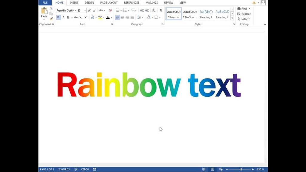 How To Create Horizontal Rainbow Letters In Word 2011 For