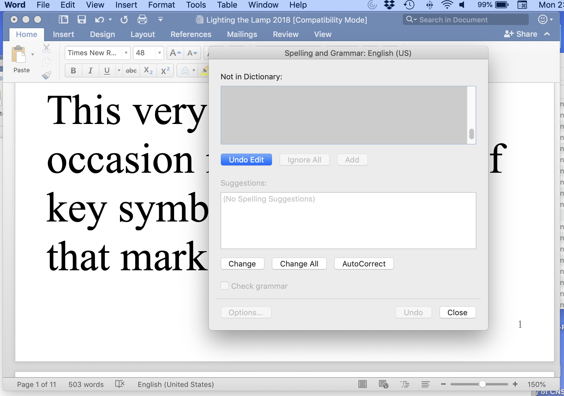 Word 2016 16 20 on macOS Mojave 10 14 2 - Spell Check Window